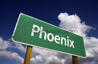 Phoenix Road Sign with dramatic blue sky and clouds - U.S. State Capitals Series.