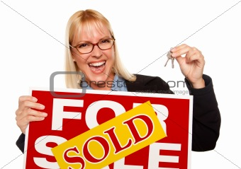 Attractive Blonde Holding Keys & Sold For Sale Sign Isolated on a White Background.