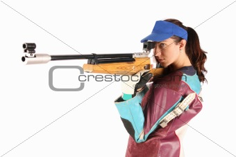woman aiming a pneumatic air rifle