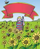 Child Adventure: Sunflower Field with Banner