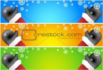 Waving Santa Scroll Banners