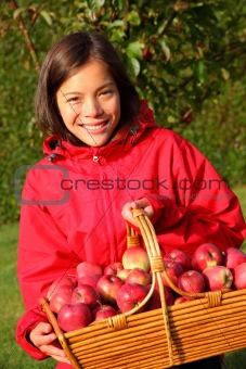 Apple autumn girl