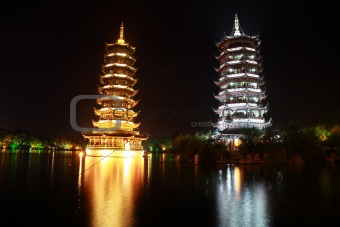 Pagodas at Night