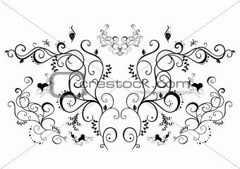 Abstract black floral ornament