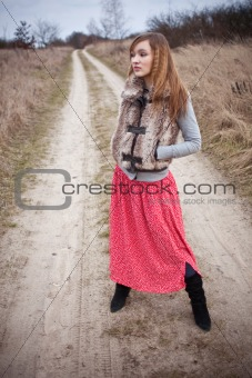 woman on rural road
