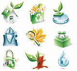 Vector cartoon style icon set. Part 20. Ecology