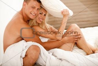 Portrait of attractive happy couple