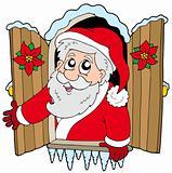 Christmas window with Santa Claus