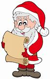 Santa Claus reading parchment