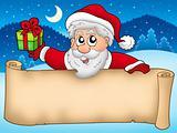 Banner with cute Santa Claus
