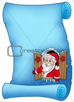 Blue parchment with Christmas window