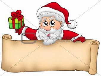 Christmas banner with Santa and gift