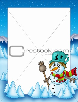 Frame with snowman and trees