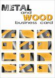 metal and wood of business card