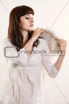Attractive caucasian brunette woman