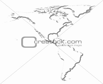 America 3D White Map