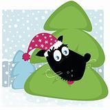 Funny dog inside christmas tree