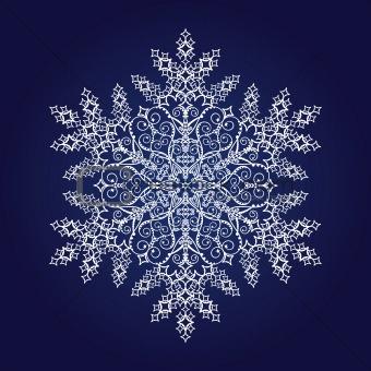 Single white detailed snowflake