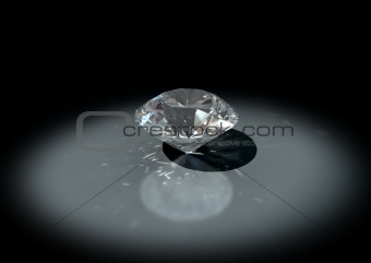 3D jewelry, brilliant cut white diamond