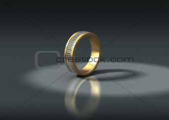 3D jewelry, gold ring with diamonds