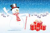 snowman and gifts
