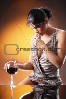 Cute red wine drinker