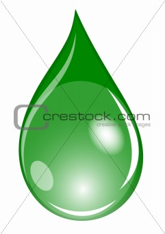 Illustration of a green waterdrop