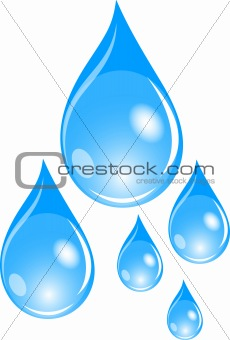 Illustration of  a set of blue waterdrops