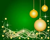 Illustration of a green Background with Christmas Balls