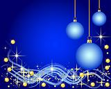 Illustration of a blue Background with Christmas Balls