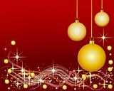 Illustration of a red Background with Christmas Balls