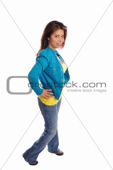 Attractive young model in casual dress fashion on a white background
