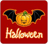 halloween's drawing - a pumpkin head of Jack-O-Lantern with bat's wings