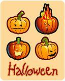 halloween's drawing - four pumpkin heads of Jack-O-Lantern ; one is on fire