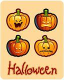 halloween's drawing - four grimacing pumpkin heads of Jack-O-Lantern
