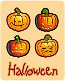 halloween&#39;s drawing - four scary pumpkin heads of Jack-O-Lantern