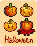 halloween&#39;s drawing - four pumpkin heads of Jack-O-Lantern ; one is bleeding