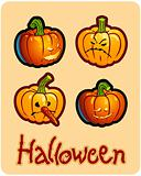 halloween&#39;s drawing - four pumpkin heads of Jack-O-Lantern ; one has a carroted-nose