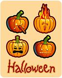 halloween's drawing - four pumpkin heads of Jack-O-Lantern ; one is on fire, another one has a nose in carrot