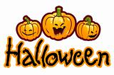 Halloween titling with three pumpkin heads of Jack-O-Lantern