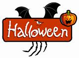 Halloween scary titling with bat wings, spider&#39;s legs and a pumpkin head of Jack-O-Lantern