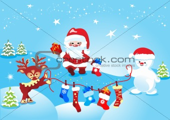 Christmas, Santa Claus with deer and snowman