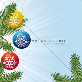 Background with Christmas tree branch and toys