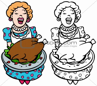 Mom serving turkey