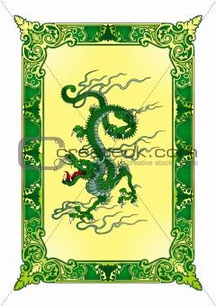 Green bamboo dragon vector