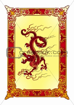 Red flame dragon vector