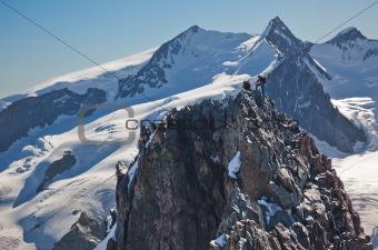 Climbers on a rocky ridge