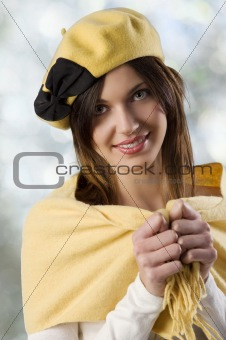 beauty girl with yellow cap