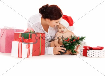 baby and mother with christmas gifts
