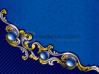 Elegant gold and blue background with gems